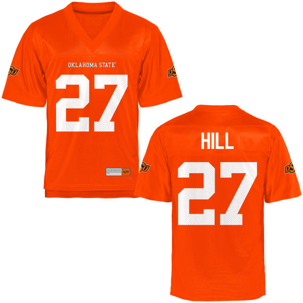 Youth Justice Hill Oklahoma State Cowboys Replica Orange Football Jersey