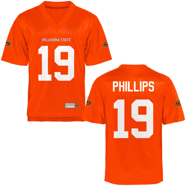 Men's Justin Phillips Oklahoma State Cowboys Game Orange Football Jersey