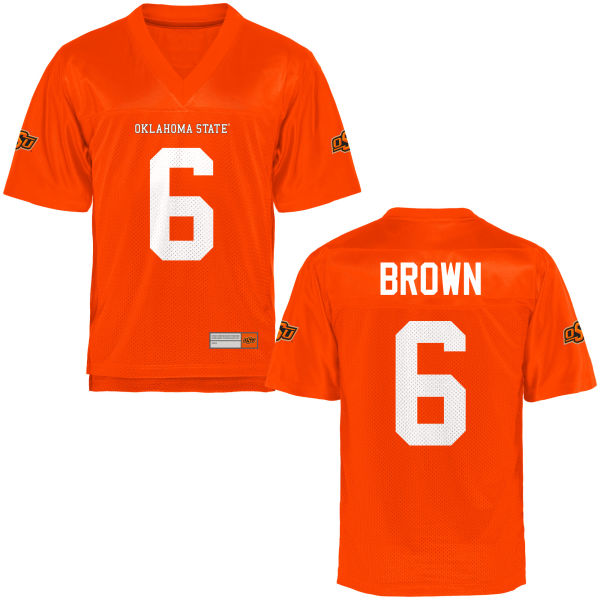 Men's Keenen Brown Oklahoma State Cowboys Authentic Orange Football Jersey