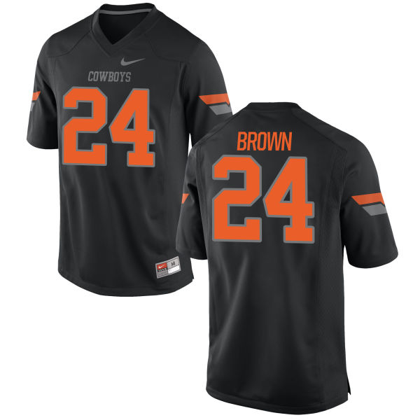 Men's Nike La'Darren Brown Oklahoma State Cowboys Game Black Football Jersey