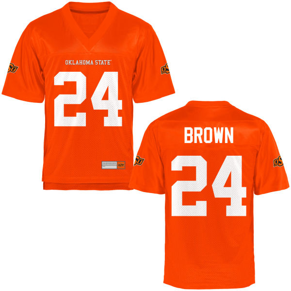 Youth La'Darren Brown Oklahoma State Cowboys Game Orange Football Jersey