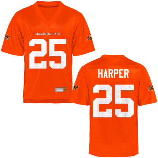 Men's Madre Harper Oklahoma State Cowboys Game Orange Football Jersey