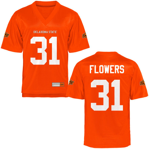 Men's Tre Flowers Oklahoma State Cowboys Game Orange Football Jersey