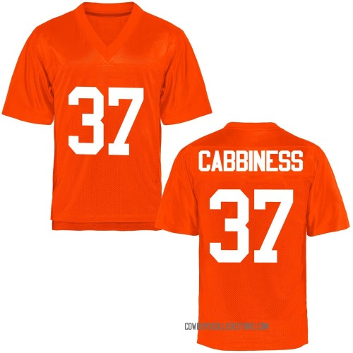 Men's Cale Cabbiness Oklahoma State Cowboys Game Orange Football College Jersey
