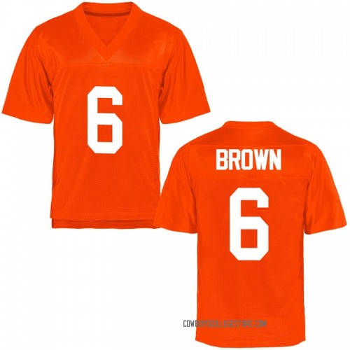 Men's Dru Brown Oklahoma State Cowboys Game Orange Football College Jersey