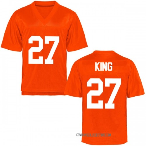 Men's J.D. King Oklahoma State Cowboys Game Orange Football College Jersey