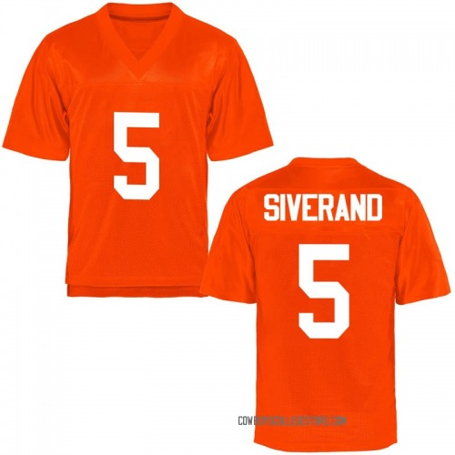 Men's Kemah Siverand Oklahoma State Cowboys Game Orange Football College Jersey