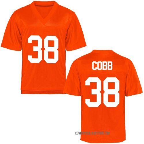 Men's Mason Cobb Oklahoma State Cowboys Replica Orange Football College Jersey
