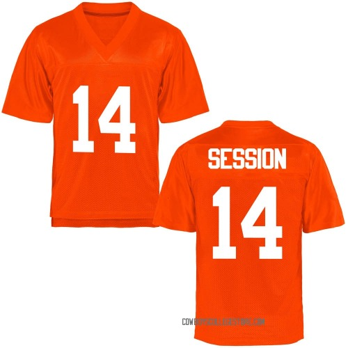 Men's Nick Session Oklahoma State Cowboys Game Orange Football College Jersey