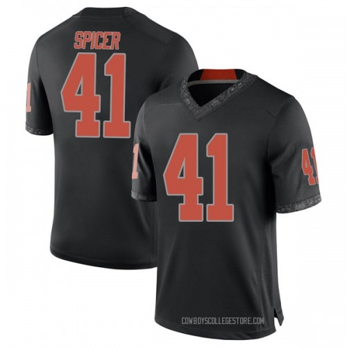 Men's Nike Braden Spicer Oklahoma State Cowboys Game Black Football College Jersey