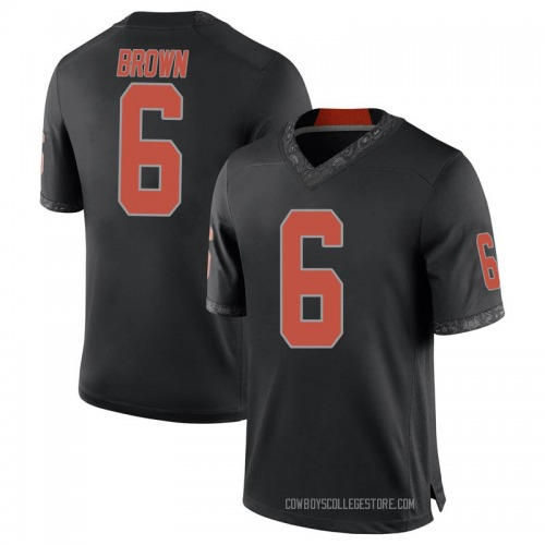 Men's Nike Dru Brown Oklahoma State Cowboys Game Black Football College Jersey