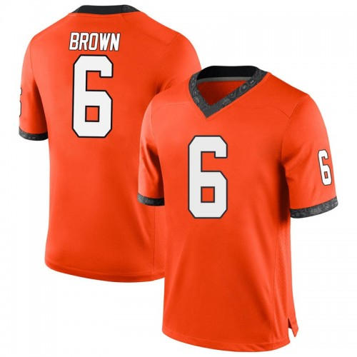 Men's Nike Dru Brown Oklahoma State Cowboys Game Orange Football College Jersey