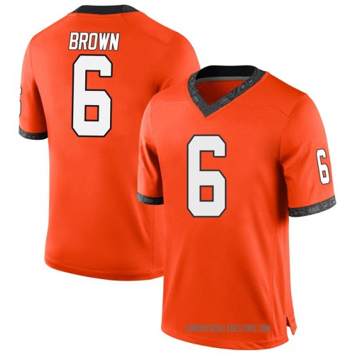 Men's Nike Dru Brown Oklahoma State Cowboys Replica Orange Football College Jersey