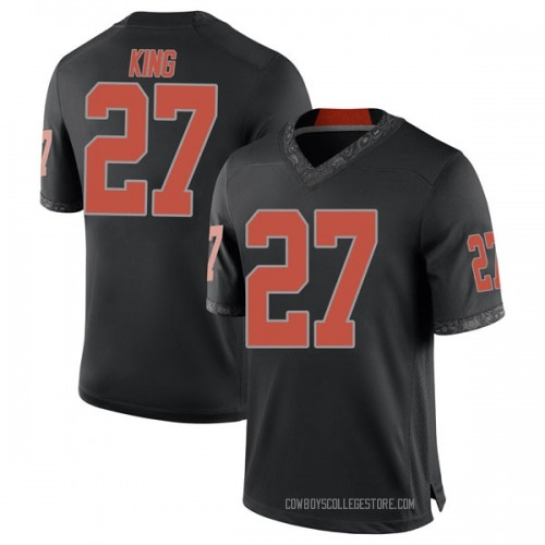 Men's Nike J.D. King Oklahoma State Cowboys Game Black Football College Jersey