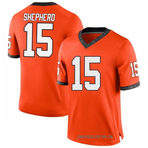 Men's Nike Jonathan Shepherd Oklahoma State Cowboys Replica Orange Football College Jersey