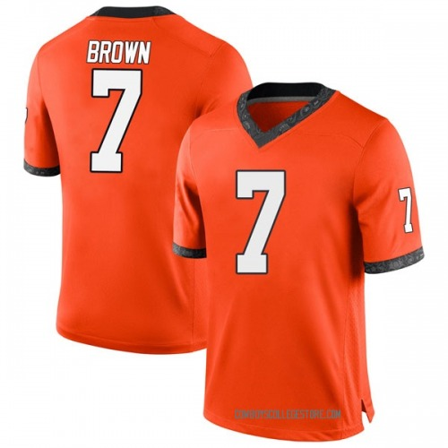 Men's Nike LD Brown Oklahoma State Cowboys Game Orange Football College Jersey