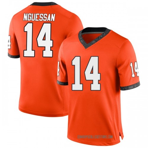 Men's Nike Lucas Nguessan Oklahoma State Cowboys Game Orange Football College Jersey