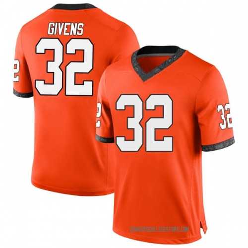 Men's Nike Malik Givens Oklahoma State Cowboys Game Orange Football College Jersey