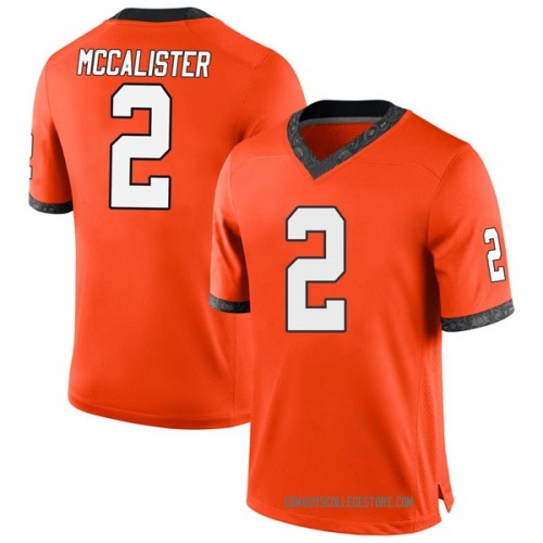 Men's Nike Tanner McCalister Oklahoma State Cowboys Game Orange Football College Jersey