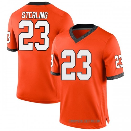 Men's Nike Trey Sterling Oklahoma State Cowboys Game Orange Football College Jersey
