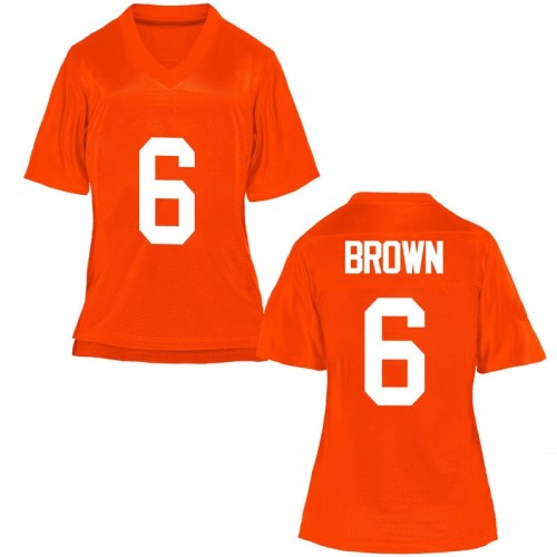 Women's Dru Brown Oklahoma State Cowboys Replica Orange Football College Jersey
