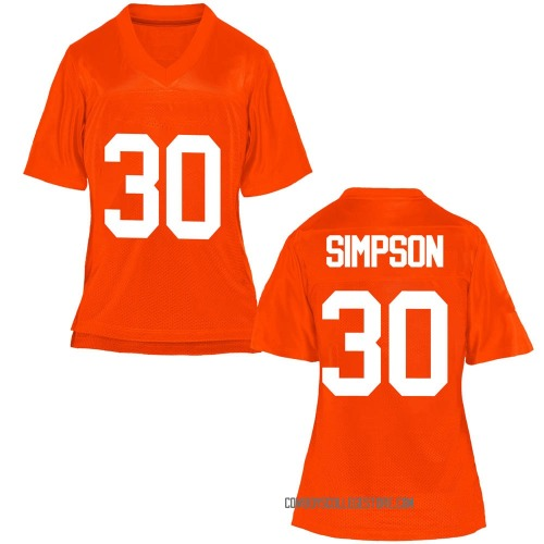 Women's Gabe Simpson Oklahoma State Cowboys Game Orange Football College Jersey