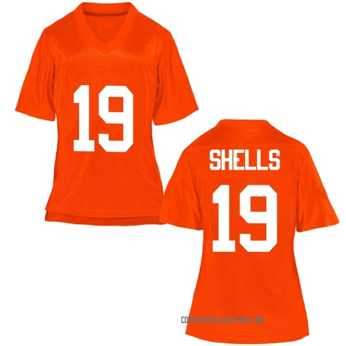 Women's Jalen Shells Oklahoma State Cowboys Game Orange Football College Jersey