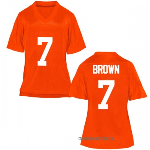 Women's LD Brown Oklahoma State Cowboys Game Orange Football College Jersey