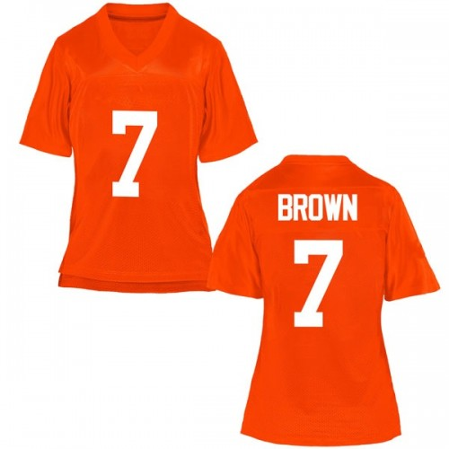 Women's LD Brown Oklahoma State Cowboys Replica Orange Football College Jersey