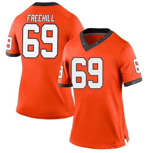 Women's Nike Ben Freehill Oklahoma State Cowboys Replica Orange Football College Jersey
