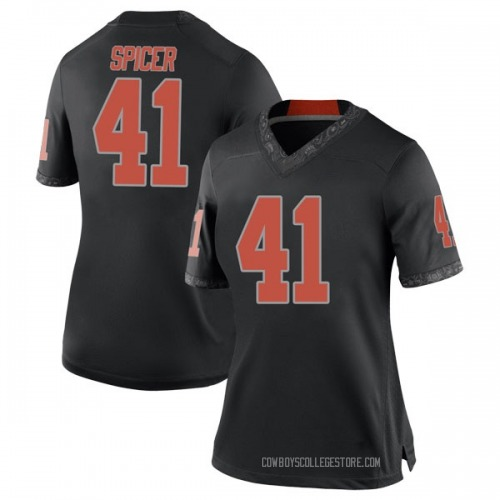 Women's Nike Braden Spicer Oklahoma State Cowboys Replica Black Football College Jersey