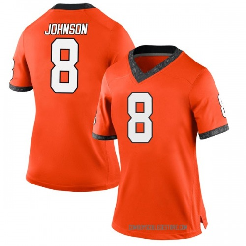 Women's Nike Braydon Johnson Oklahoma State Cowboys Game Orange Football College Jersey