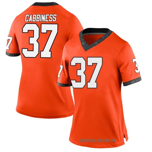 Women's Nike Cale Cabbiness Oklahoma State Cowboys Game Orange Football College Jersey