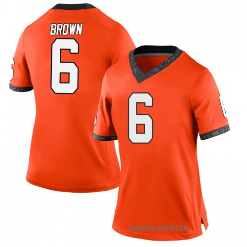 Women's Nike Dru Brown Oklahoma State Cowboys Game Orange Football College Jersey