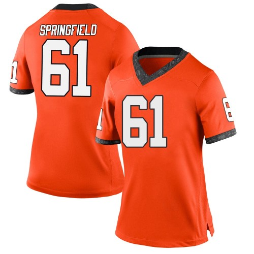 Women's Nike Jake Springfield Oklahoma State Cowboys Game Orange Football College Jersey