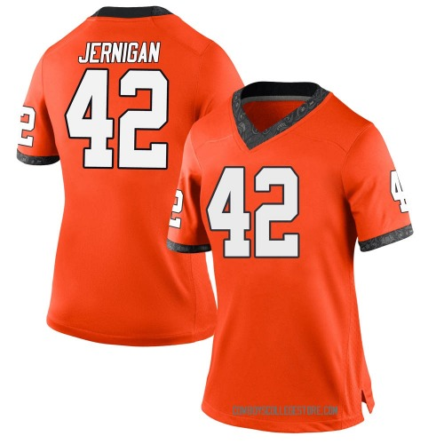 Women's Nike Jayden Jernigan Oklahoma State Cowboys Game Orange Football College Jersey