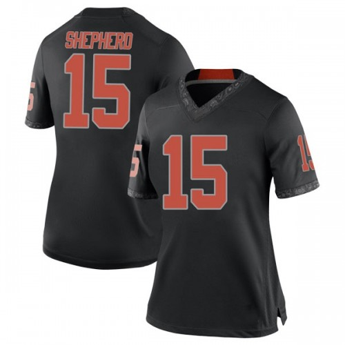 Women's Nike Jonathan Shepherd Oklahoma State Cowboys Replica Black Football College Jersey