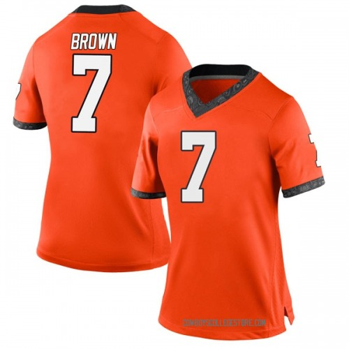 Women's Nike LD Brown Oklahoma State Cowboys Game Orange Football College Jersey