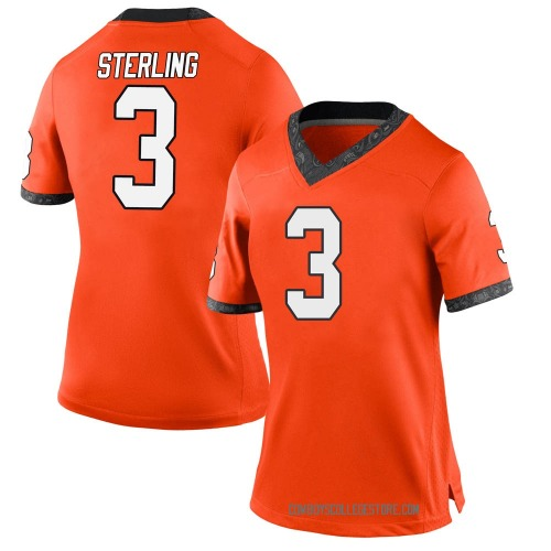 Women's Nike Tre Sterling Oklahoma State Cowboys Game Orange Football College Jersey
