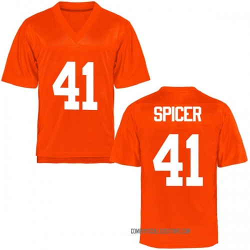 Youth Braden Spicer Oklahoma State Cowboys Game Orange Football College Jersey