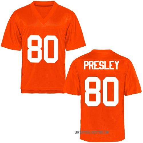 Youth Brennan Presley Oklahoma State Cowboys Game Orange Football College Jersey