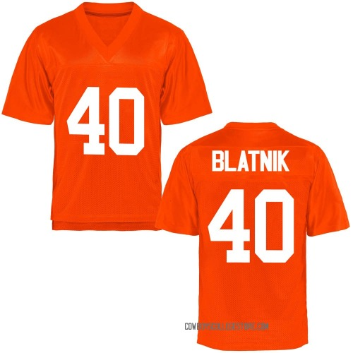 Youth Colby Blatnik Oklahoma State Cowboys Game Orange Football College Jersey