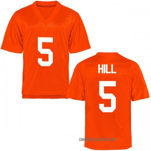 Youth Justice Hill Oklahoma State Cowboys Game Orange Football College Jersey
