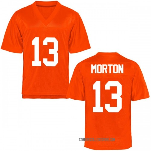 Youth Lamarcus Morton Oklahoma State Cowboys Game Orange Football College Jersey