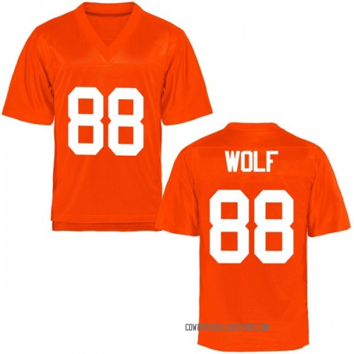 Youth Landon Wolf Oklahoma State Cowboys Game Orange Football College Jersey