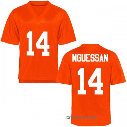 Youth Lucas Nguessan Oklahoma State Cowboys Game Orange Football College Jersey