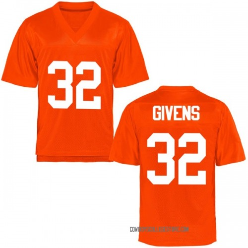 Youth Malik Givens Oklahoma State Cowboys Game Orange Football College Jersey