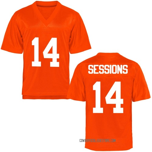 Youth Nicolas Sessions Oklahoma State Cowboys Game Orange Football College Jersey