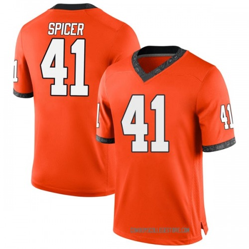 Youth Nike Braden Spicer Oklahoma State Cowboys Game Orange Football College Jersey
