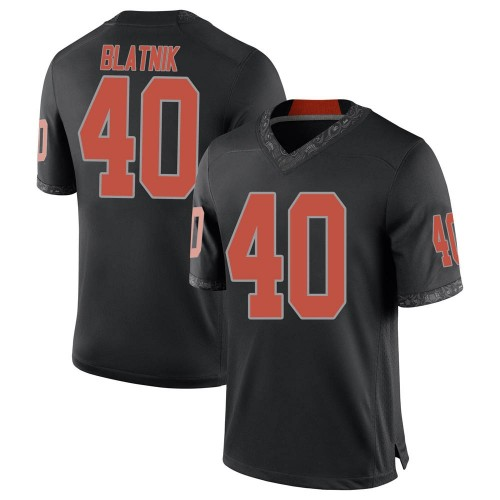 Youth Nike Colby Blatnik Oklahoma State Cowboys Game Black Football College Jersey